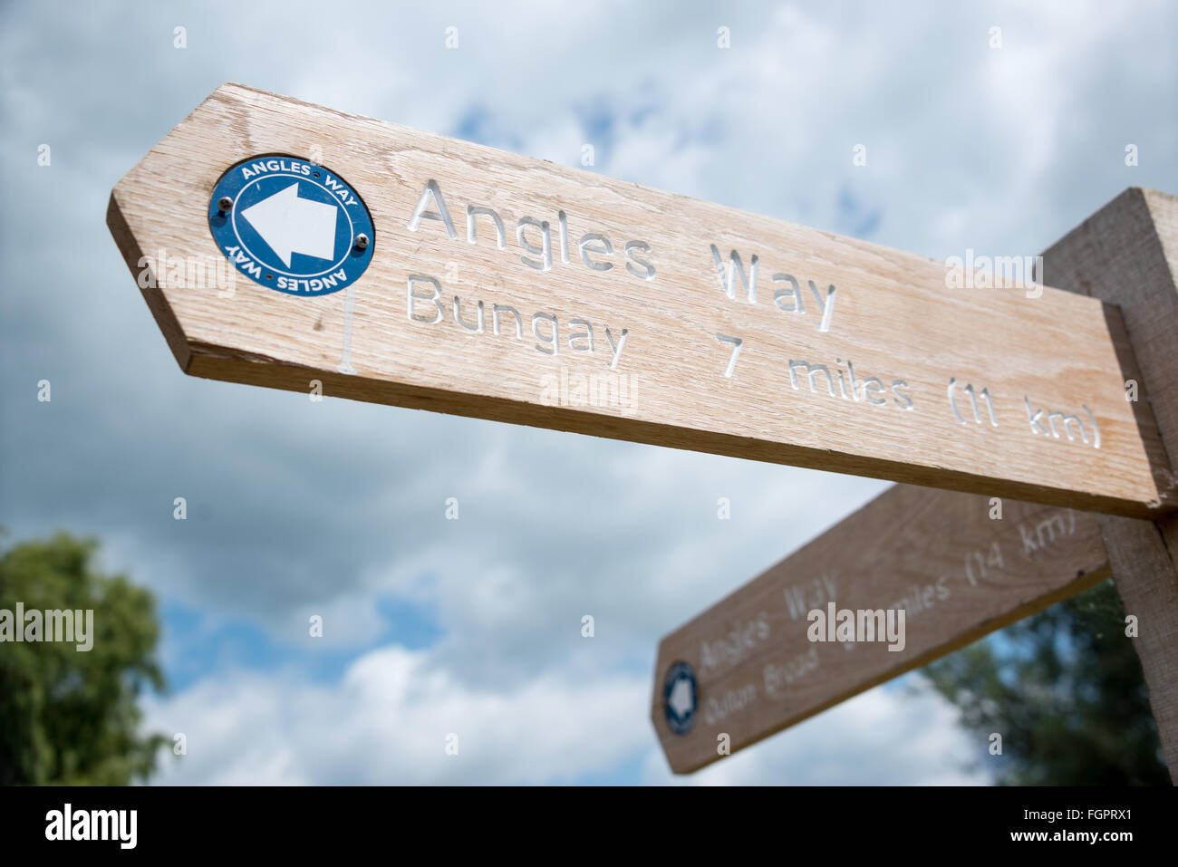 Angles Way sign, near Beccles in Suffolk - Stock Image