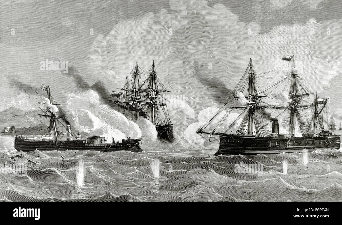War of the Pacific.1879-1883. Conflict between Chile and Peru and Bolivia. Naval combat. Huascar ship against the - Stock Image