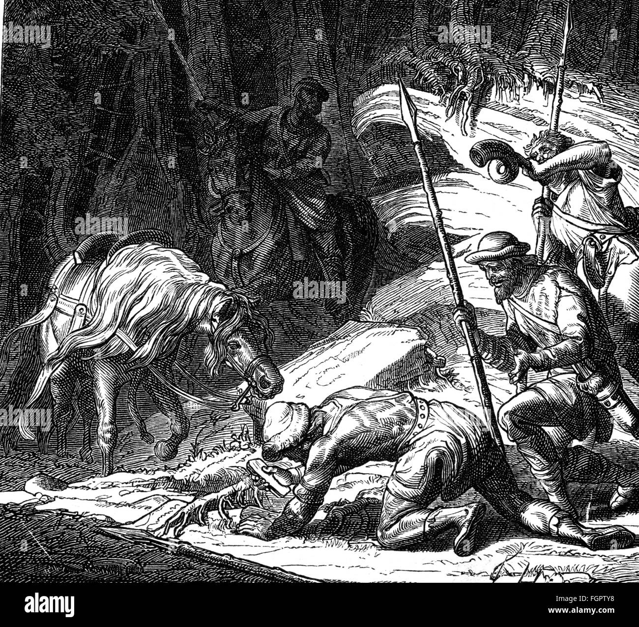 mining, silver, legend of the discovery of silver on the Rammelsberg mountain near Goslar, wood engraving, after - Stock Image