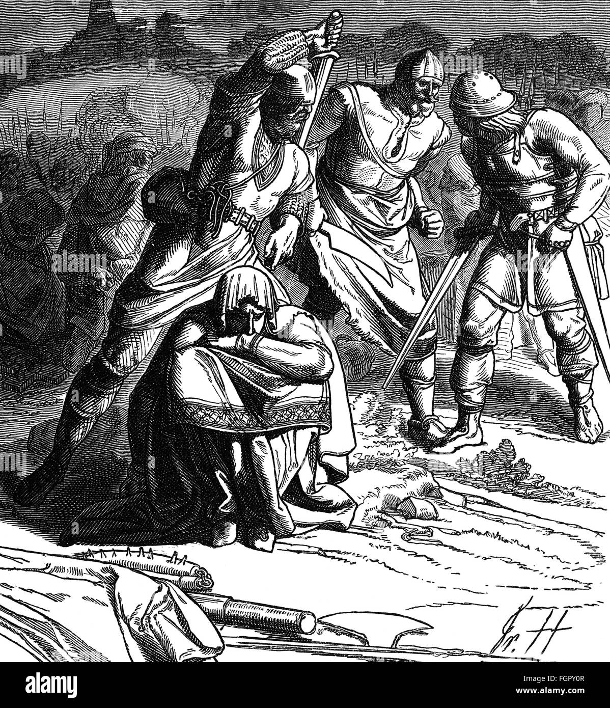 Middle Ages, war, Lithuanian warriors splitting loot, 13th century, wood engraving, 19th century, Lithuanian, Baltics, - Stock Image