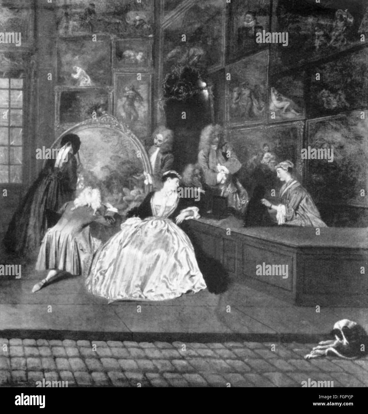 trade, shops, art dealers, 'Gersaint's Shopsign' (L'Enseigne de Gersaint), painting, by Antoine - Stock Image
