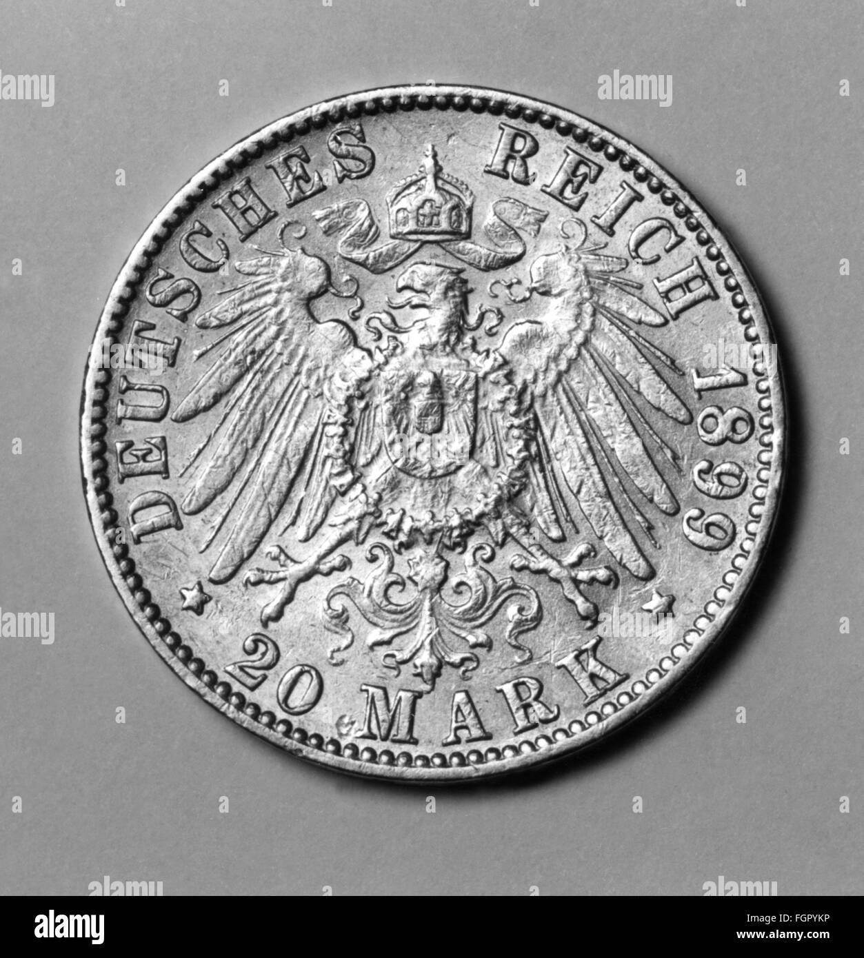 money / finances, coins, Germany, twenty mark, 1899, 19th century, German Empire, eagle, eagles, Imperial Eagle, - Stock Image