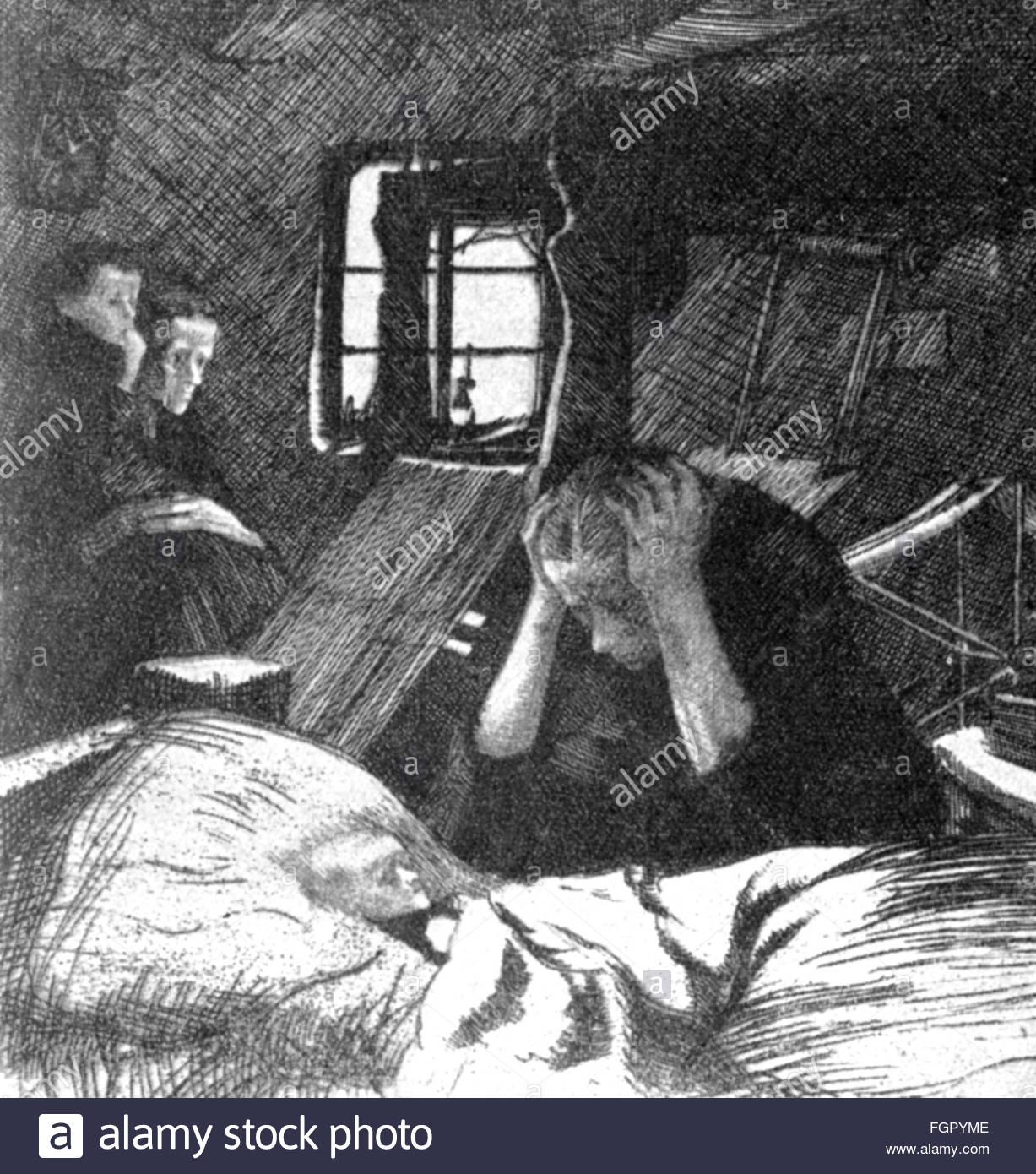 people, misery and hardship, mother with sick child, etching by Kaethe Kollwitz, cycle 'Ein Weberaufstand', - Stock Image