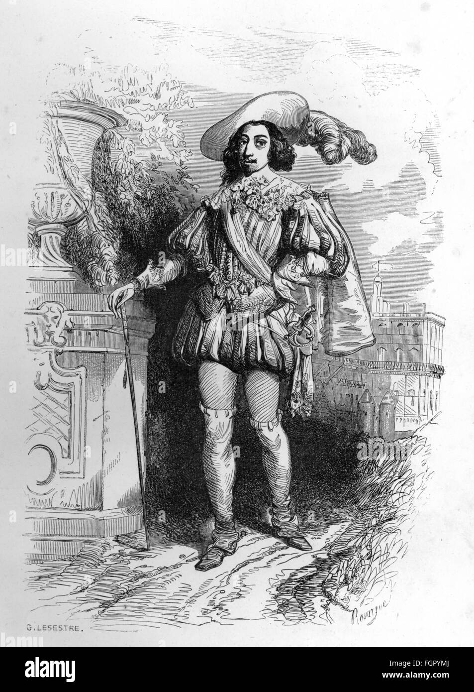 """lliterature, """"The Three Musketeers"""" (Les Trois Mousquetaires), by Alexandre Dumas the Elder, 6th chapter, king Louis XIII, wood engraving by G.Lesestre, Dufour et Moulat, Paris, 1851, Additional-Rights-Clearences-Not Available Stock Photo"""