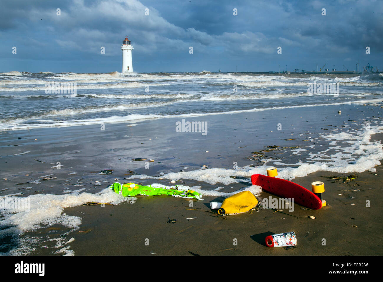 New Brighton, Wallasey, UK. 22nd Feb 2016. UK Weather: Marine beach debris items have become a pervasive pollution - Stock Image
