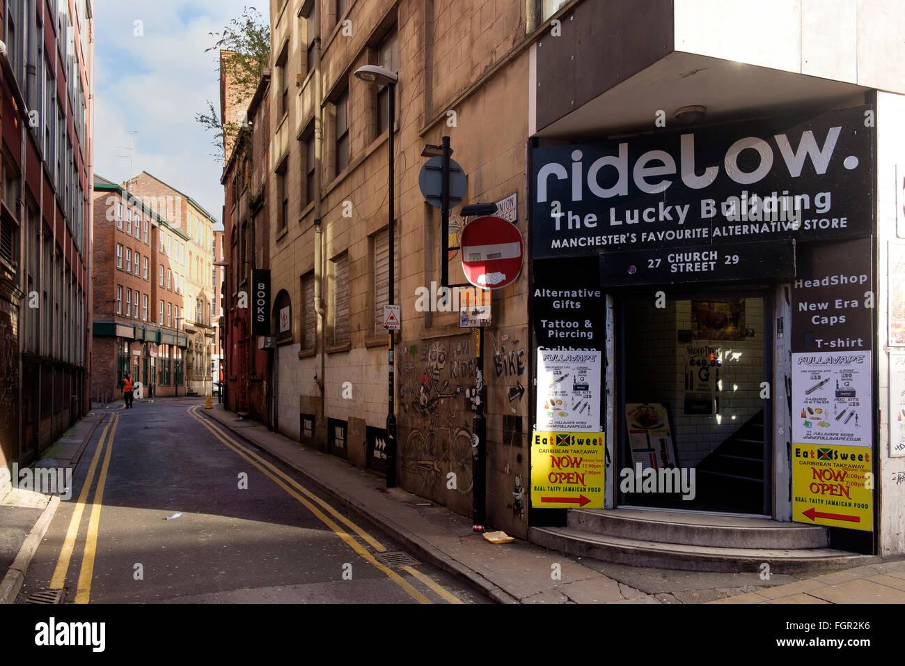 Manchester, UK - 18th February 2016: Ridelow alternative store on corner of Union Street and Church Street - Stock Image