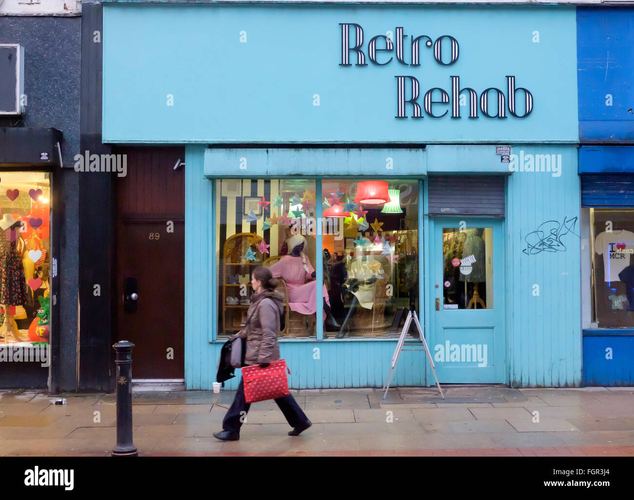 Manchester, UK - 17 February 2016: Retro Rehab vintage fashion store on Oldham Street in the Northern Quarter - Stock Image