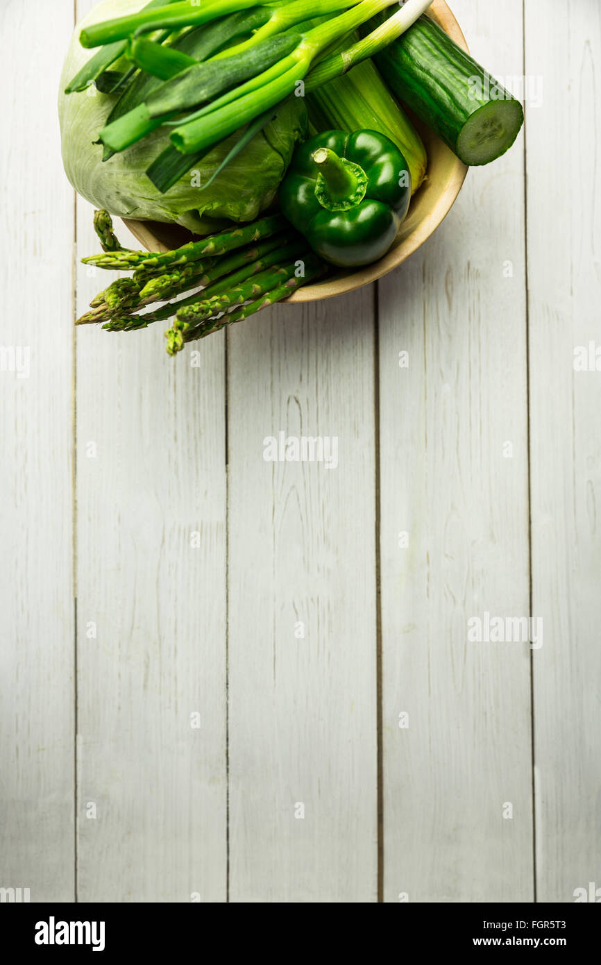 Green vegetables on table - Stock Image