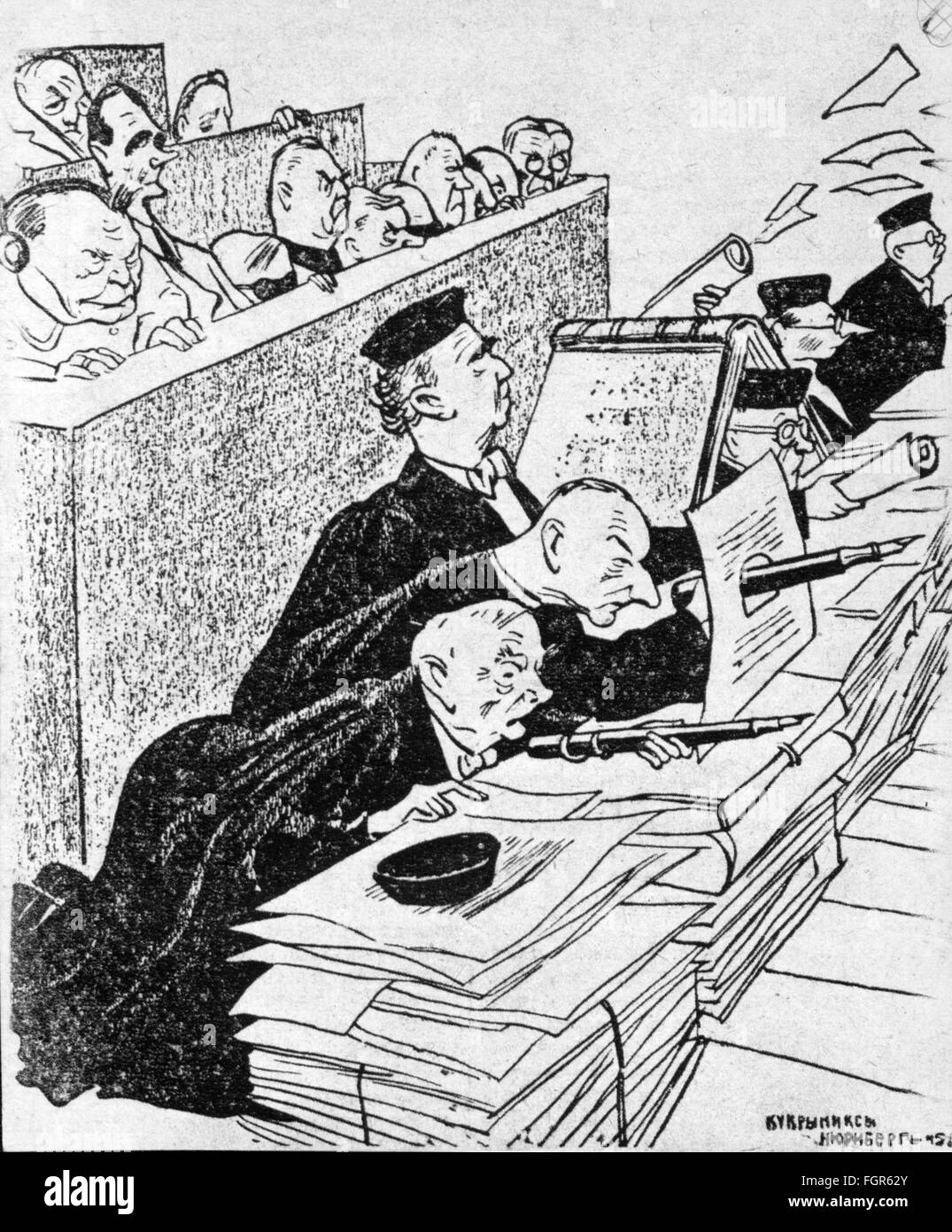 """justice, lawsuits, Nuremberg Trials, trial against the major war criminals, """"The last defense position"""", drawing Stock Photo"""