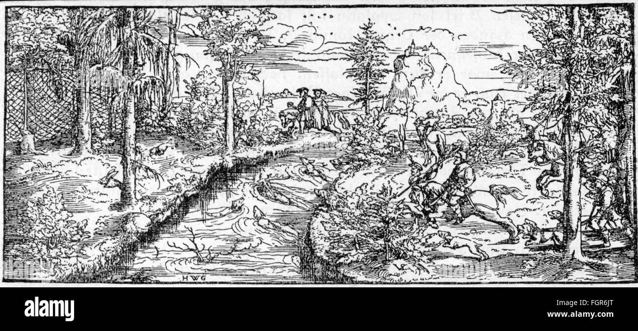 hunt, deer, deer hunt, woodcut after Virgil Solis, Nuremberg, 16th century, Germany, Holy Roman Empire, nobility, - Stock Image