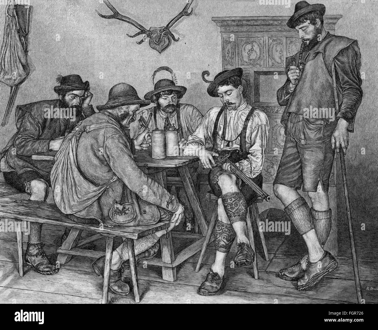 hunt, hunters, 'The new Carbine', wood engraving after painting by Karl Haider, 1880, Additional-Rights - Stock Image