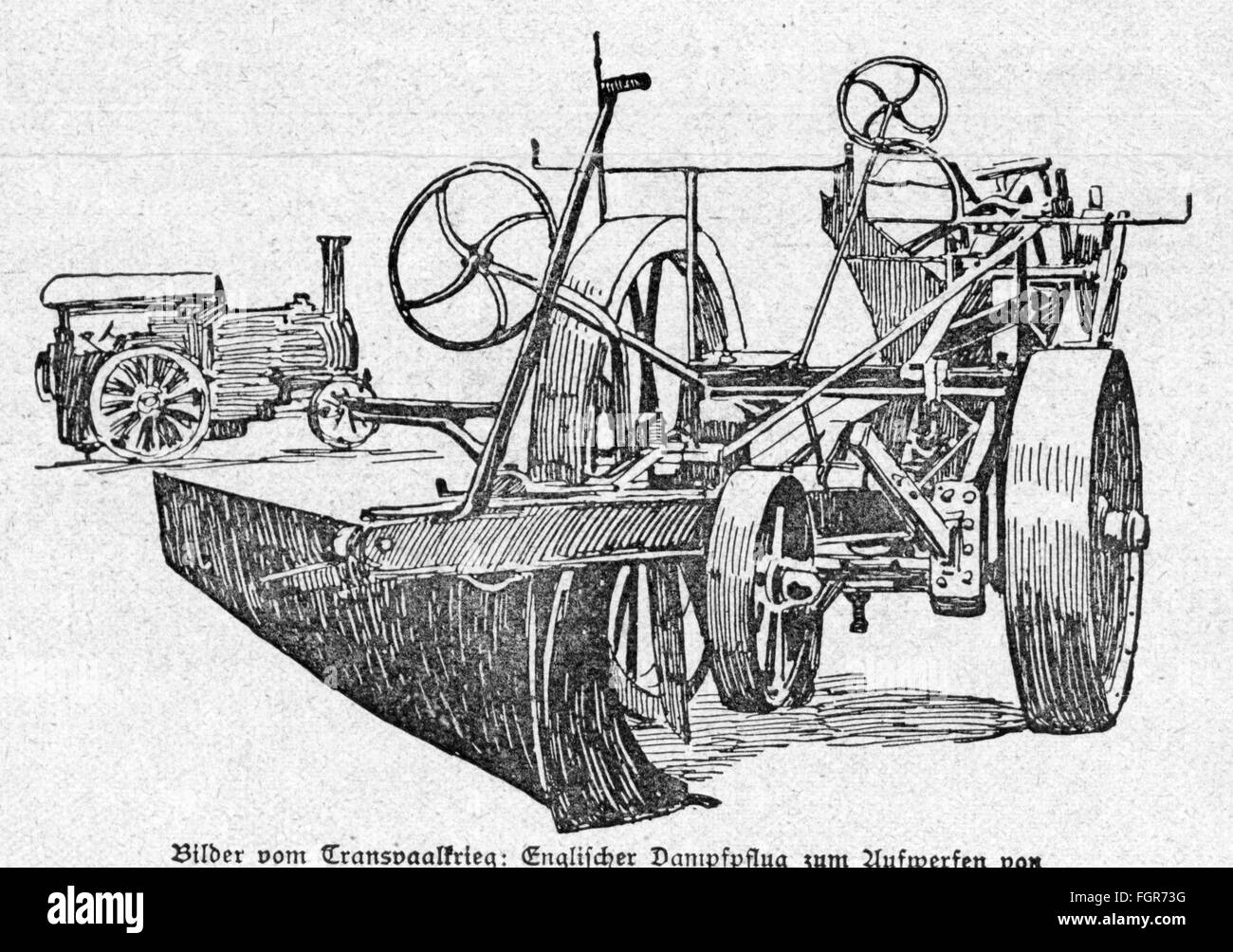 Second Boer War 1899 - 1902, British steam plough for the digging of trenches, drawing, 'Die Woche', Berlin, - Stock Image