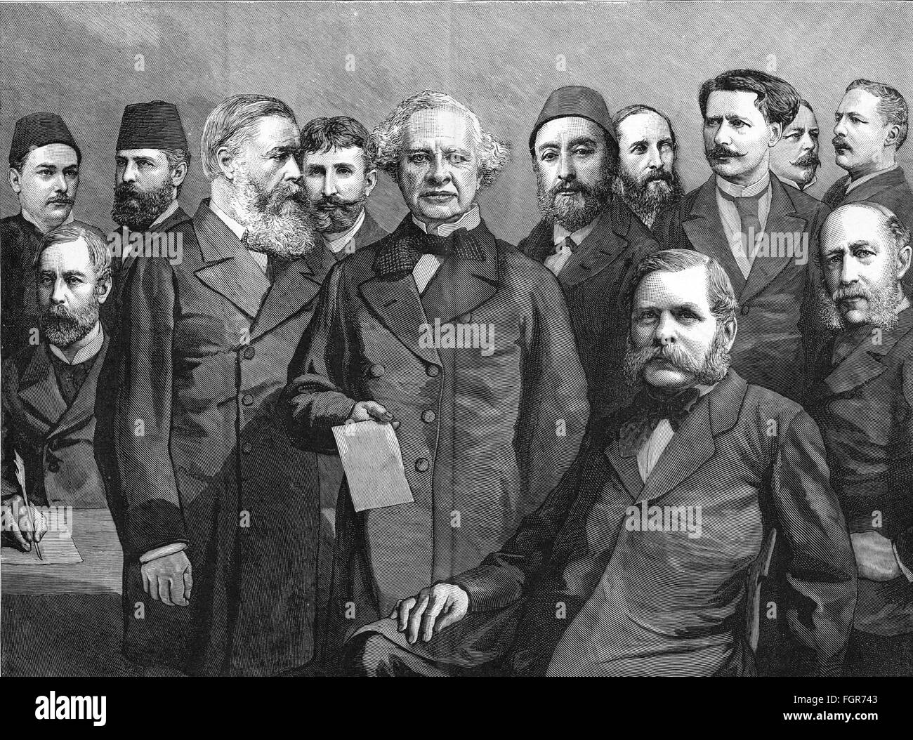 politics, conference, Egyptian conference 1883 / 1884, participant, group picture, wood engraving, from: 'Über - Stock Image