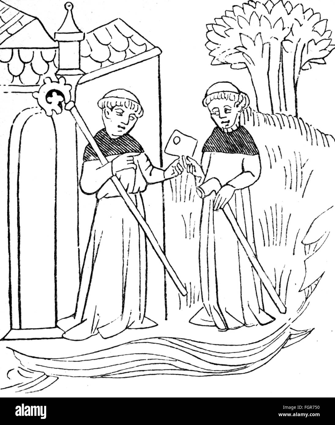 mail, postman, messengers between monasteries, wood engraving, 19th century, graphic, graphics, Middle Ages, medieval, - Stock Image