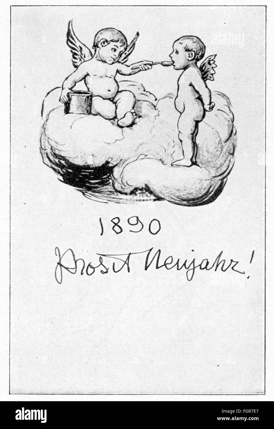 festivity new years eve prosit neujahr happy new year greetings card by hans thoma 1839 1924 1890 additional rights clearences na