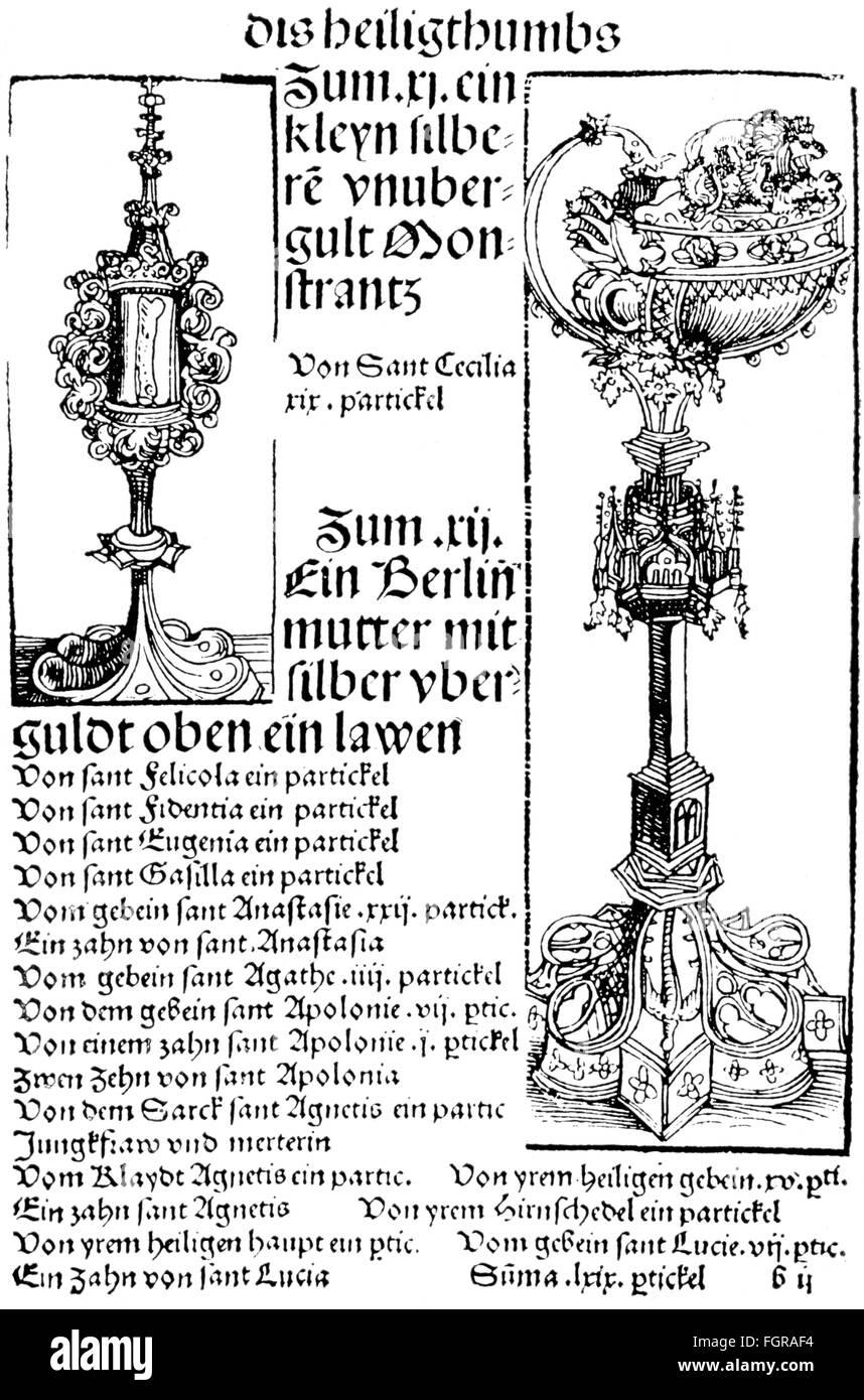 literature, illustrations, Wittenberg book of relics, woodcut, workshop of Lucas Cranach the Elder (circa 1475  - Stock Image