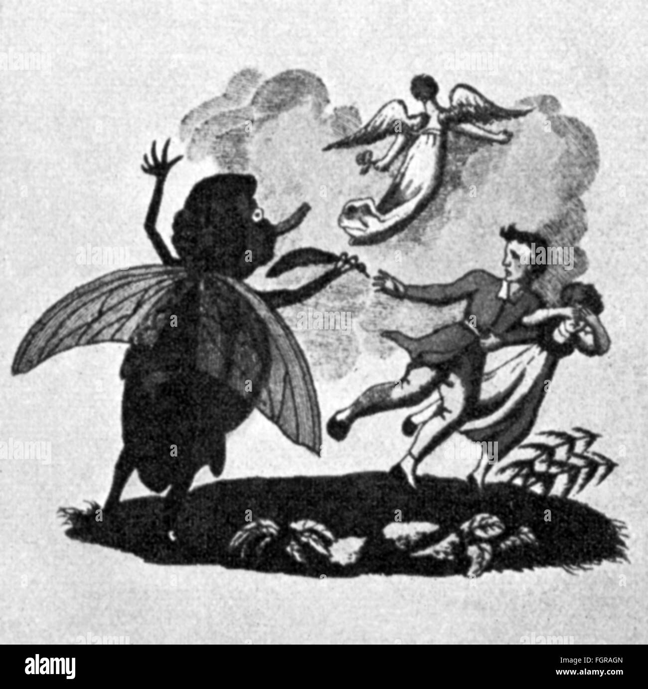 literature, fairy tales, 'The Strange Child' by E.T.A.Hoffmann (1876 - 1822), engraving after concept of - Stock Image