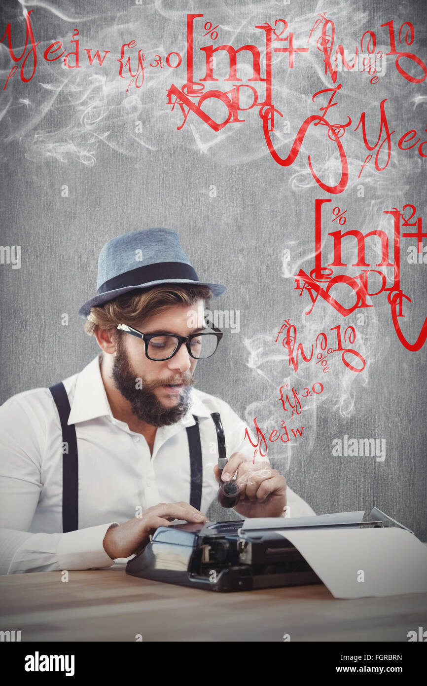 Composite image of hipster holding smoking pipe while working on typewriter - Stock Image