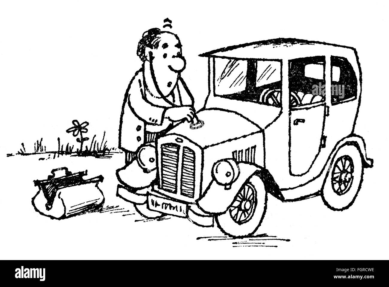 medicine, caricature, medical doctor examining car, drawing by Arthur Epperlein (1919 - 1995), from the series 'Aus - Stock Image