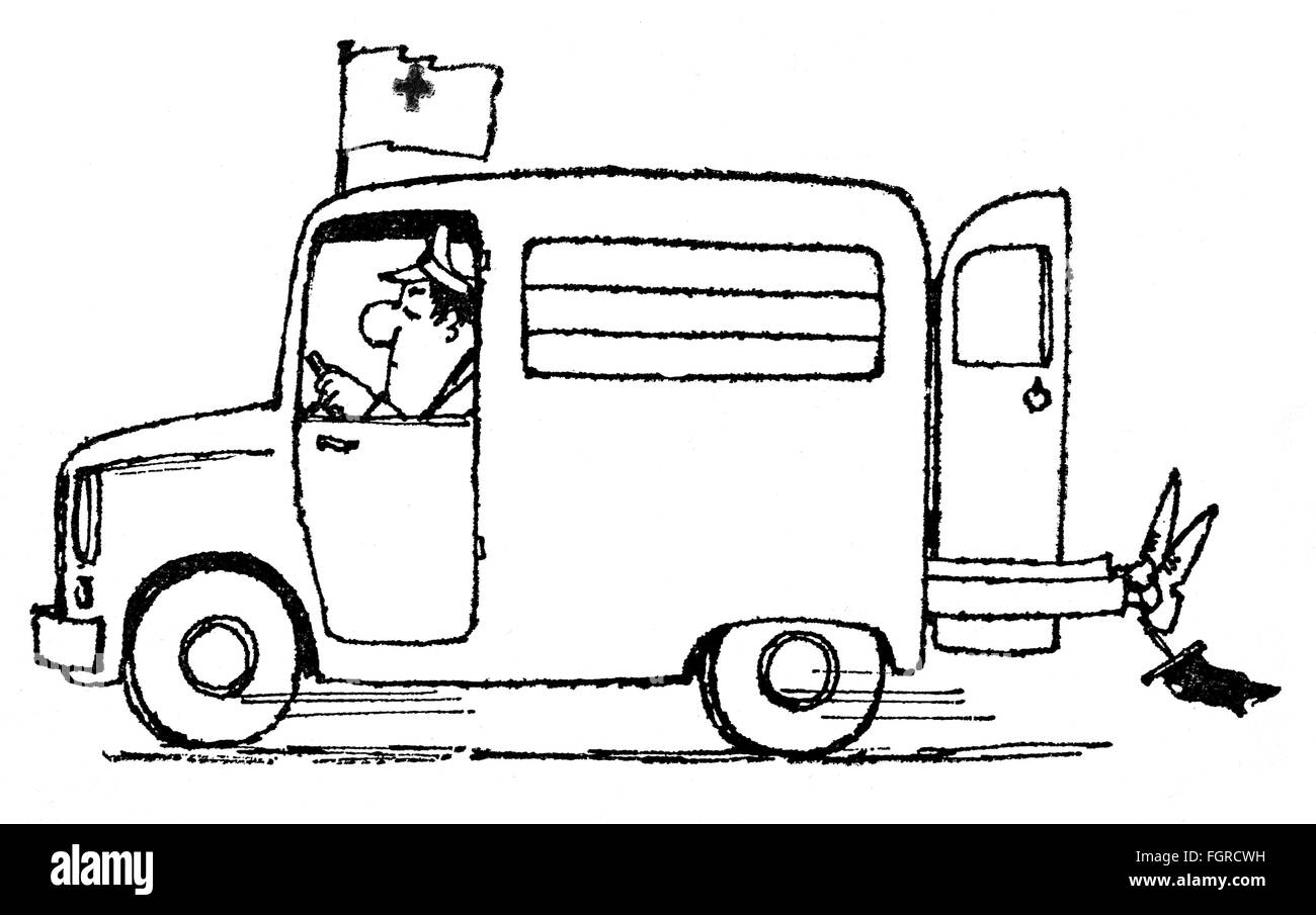 medicine, caricature, ambulance carrying large patient, drawing by Arthur Epperlein (1919 - 1995), from the series - Stock Image