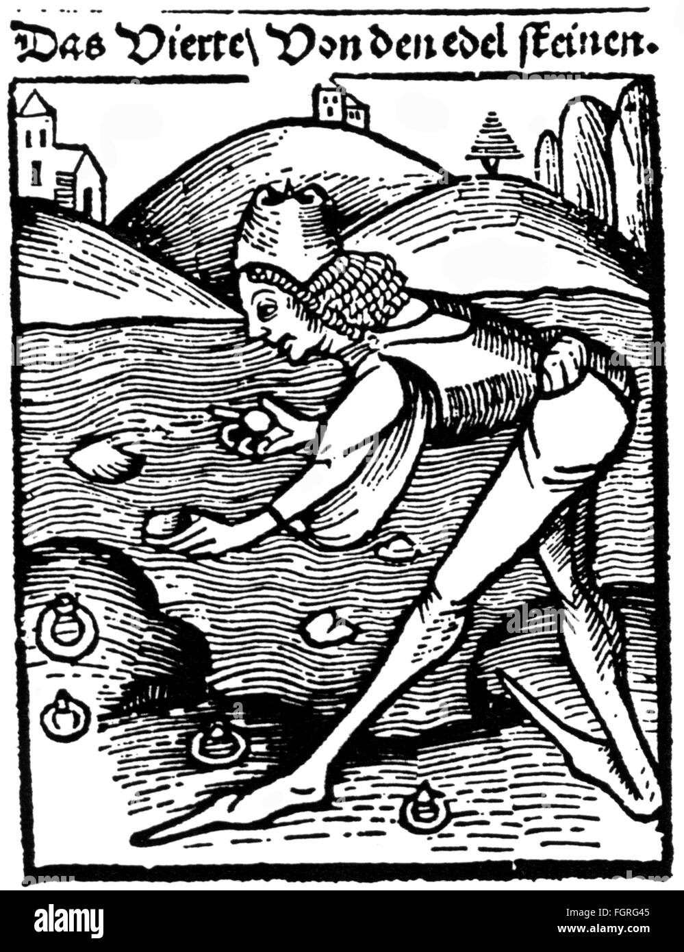 "metal, gemstone, collector of agates of Idar-Oberstein, woodcut, out of: ""Hortus Sanitatis"", 1507, Additional-Rights Stock Photo"