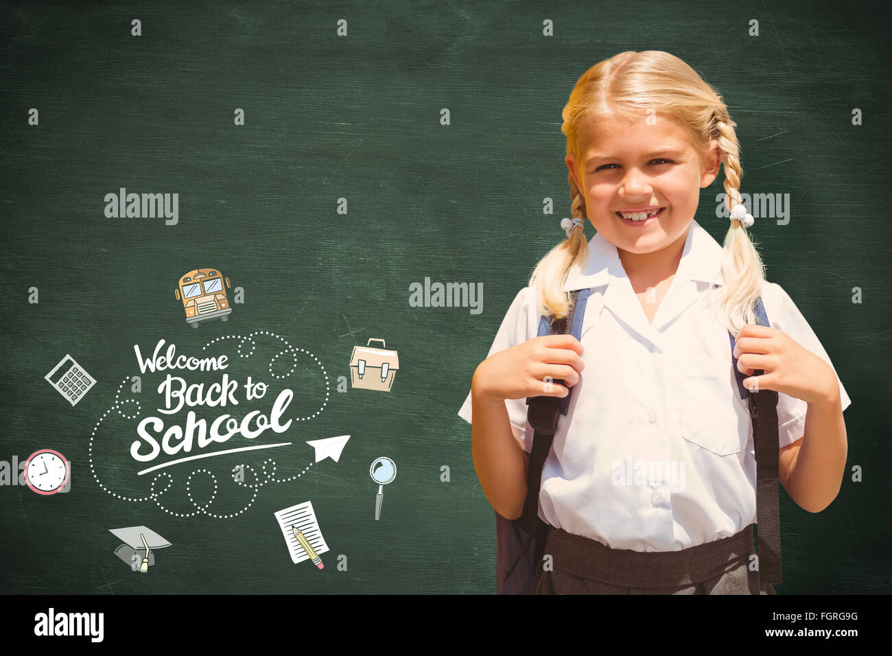 Composite image of cute pupil smiling at camera by the school bus - Stock Image