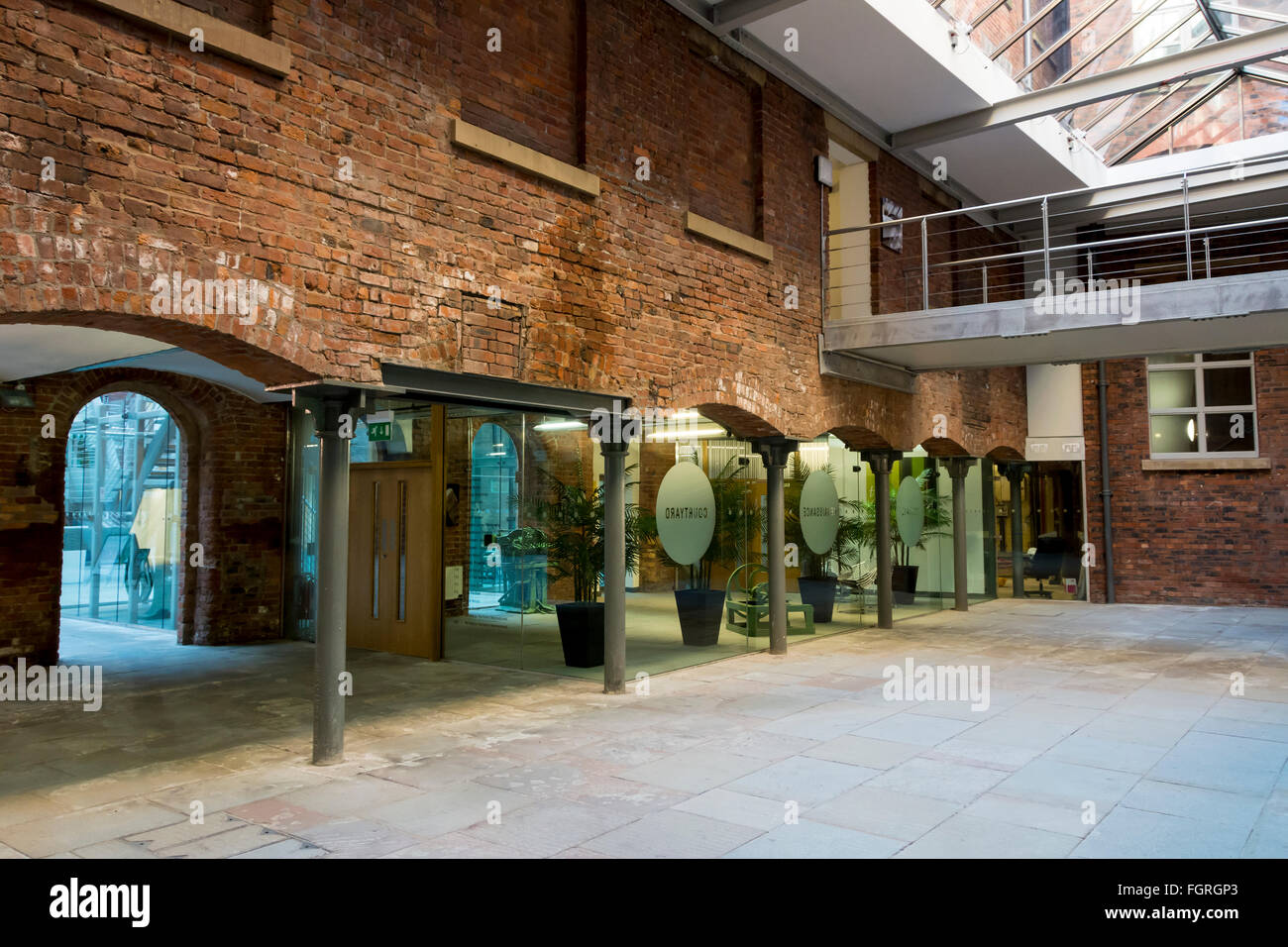 Retail outlets inside the refurbished Royal Mills complex, Redhill Street, New Islington, Ancoats, Manchester, UK - Stock Image
