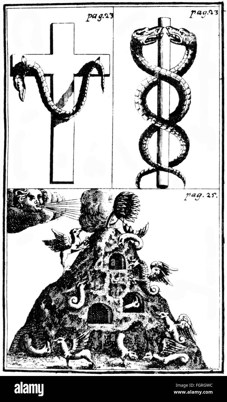 alchemy, hieroglyphic figures, symbols for mercury, copper engraving, out of: Nicolas Flamel (circa 1330 - 1418), - Stock Image