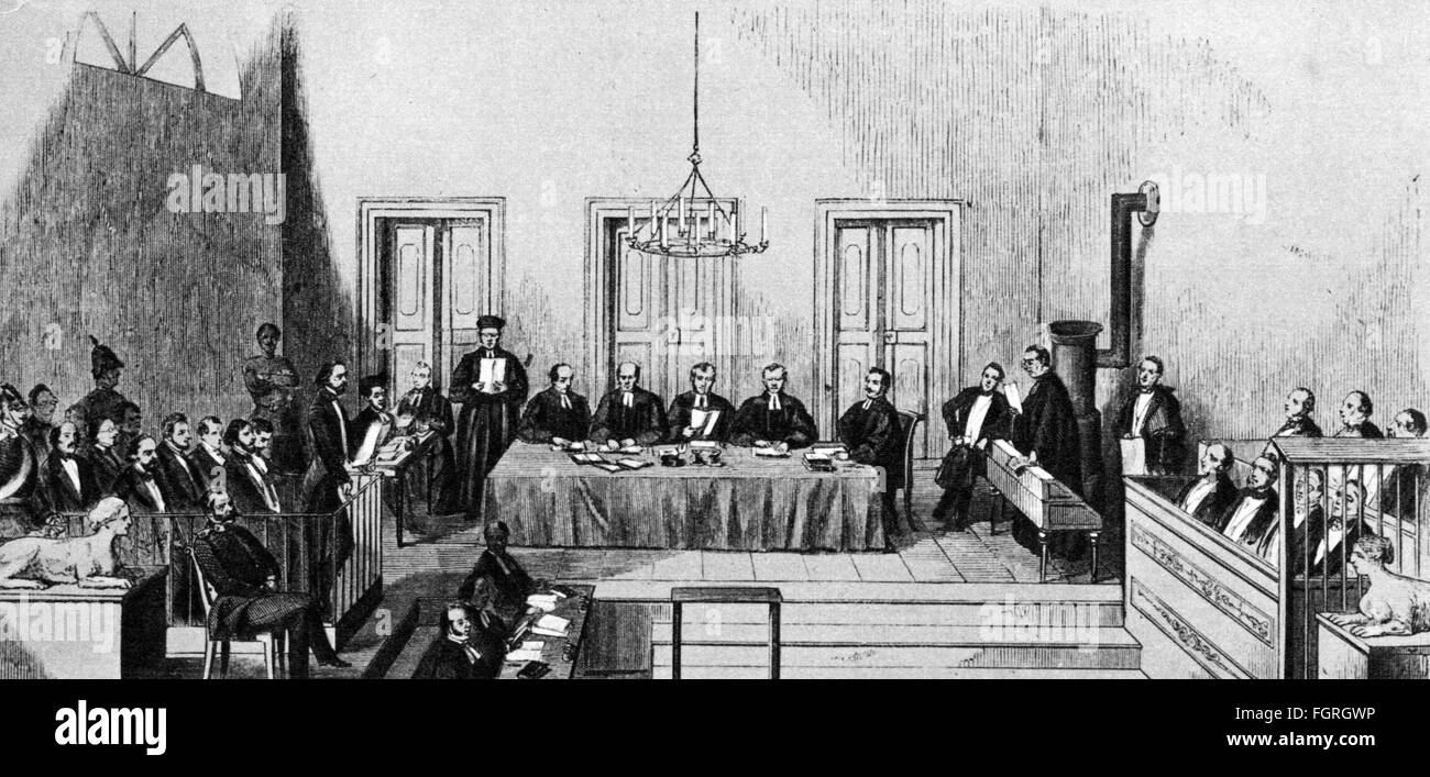 justice, lawsuit, Cologne Communist Trial, 4.10.1852 - 12.11.1852, hearing, district court Cologne, wood engraving - Stock Image