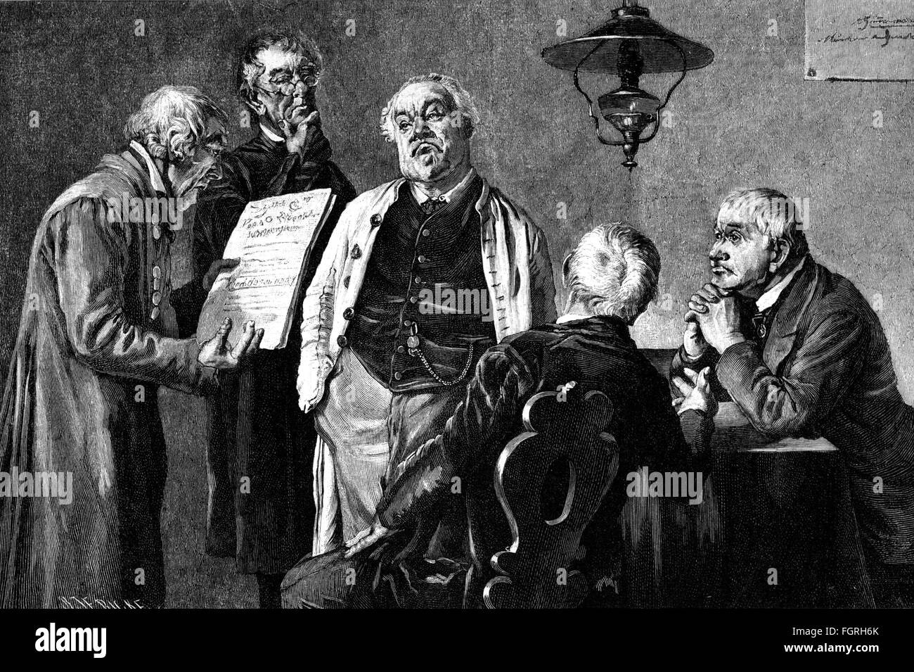 politics, government, municipal council, wood engraving after painting by Alfred Zimmermann, 1885, Additional-Rights - Stock Image