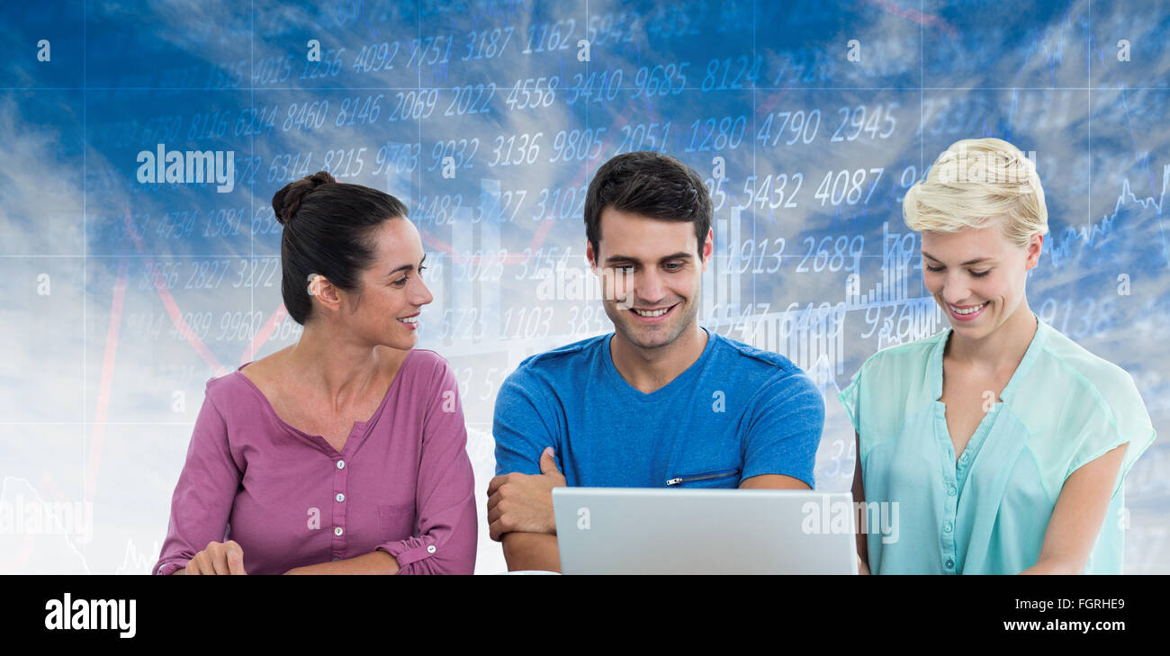 Composite image of business people having a meeting Stock Photo