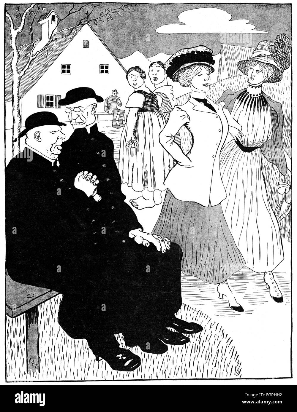 fashion, early 20th century / turn of the century, 'Modernism', drawing by Max Hagen (1859 - 1914), out - Stock Image