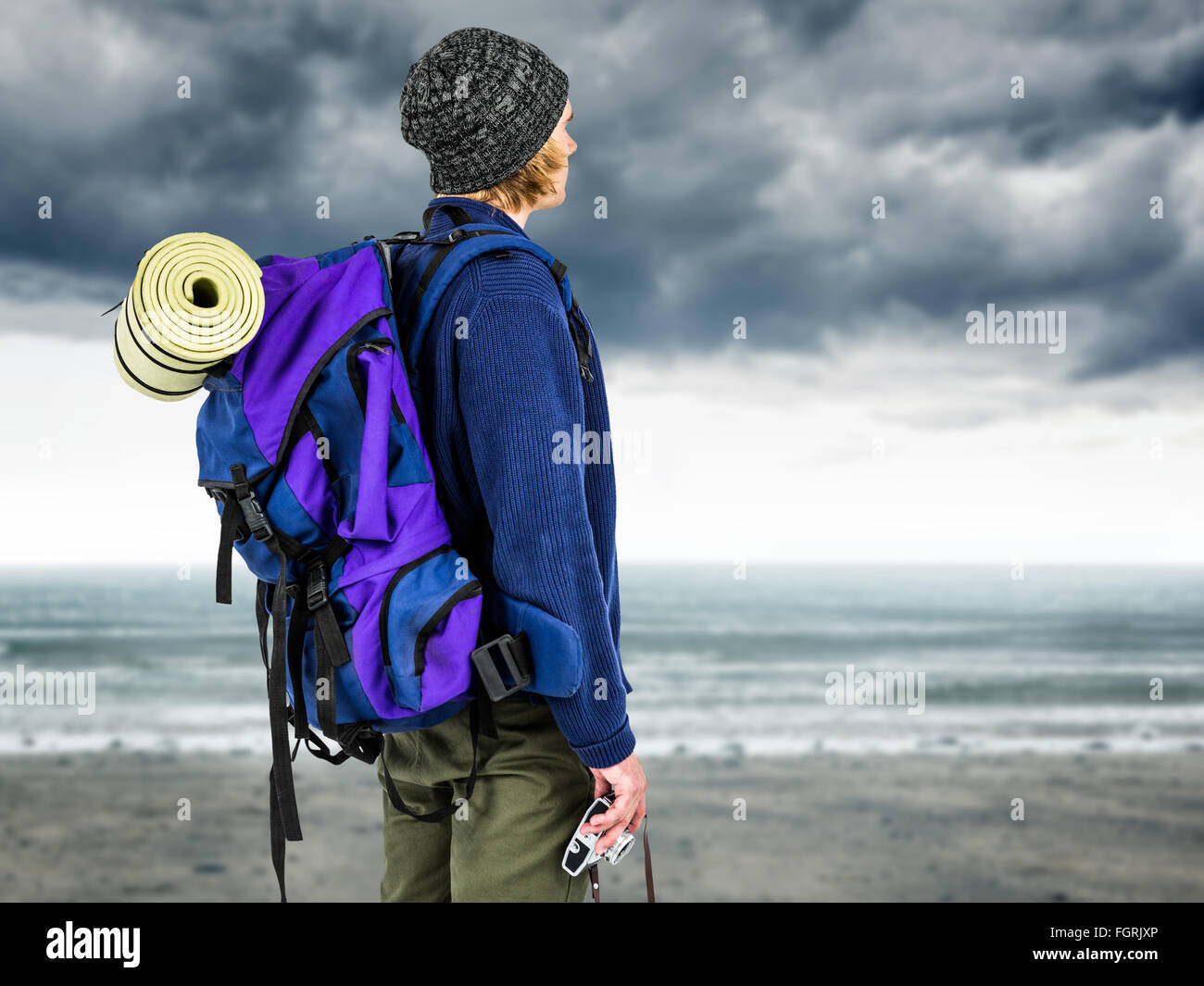 Composite image of side view of backpacker hipster - Stock Image