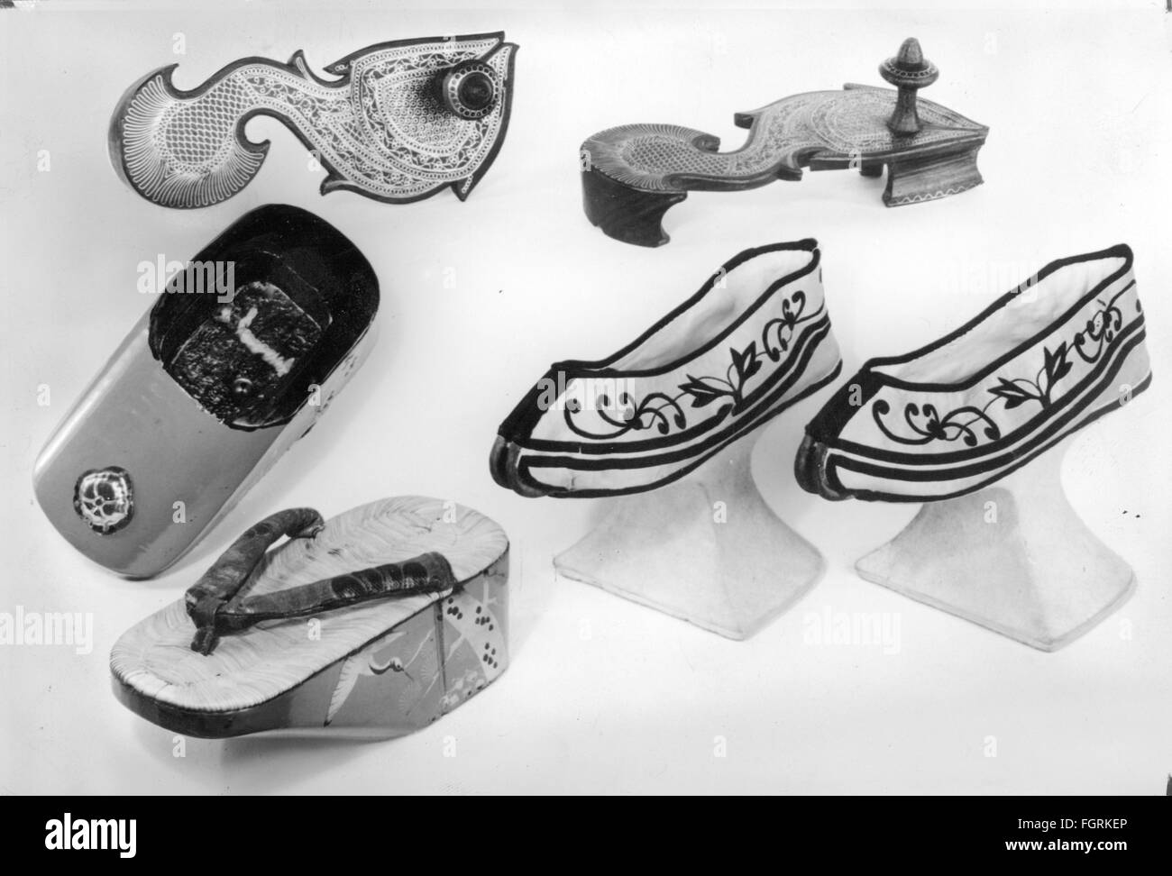 fashion, shoes, different types of shoes from Asia, Museum for Ethnology and Prehistory, Hamburg, Asia, clothes, - Stock Image