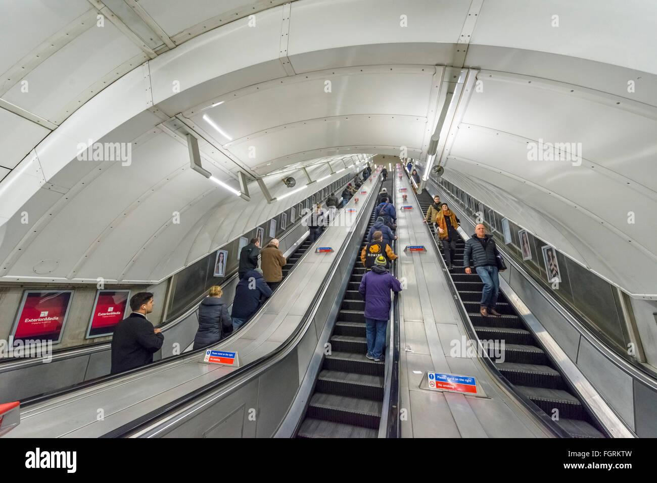 Escalator at Leicester Square underground station, London, England, UK - Stock Image