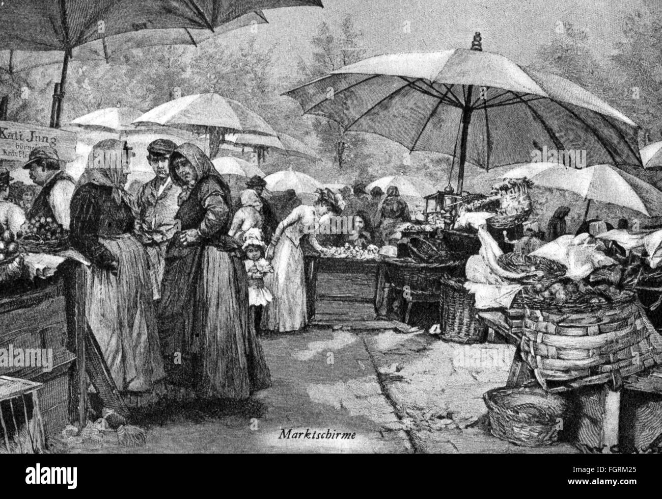 trade, markets, road traffic, stalls with sunshades, wood engraving by Wilhelm Gause (1853 - 1916), circa 1900, - Stock Image