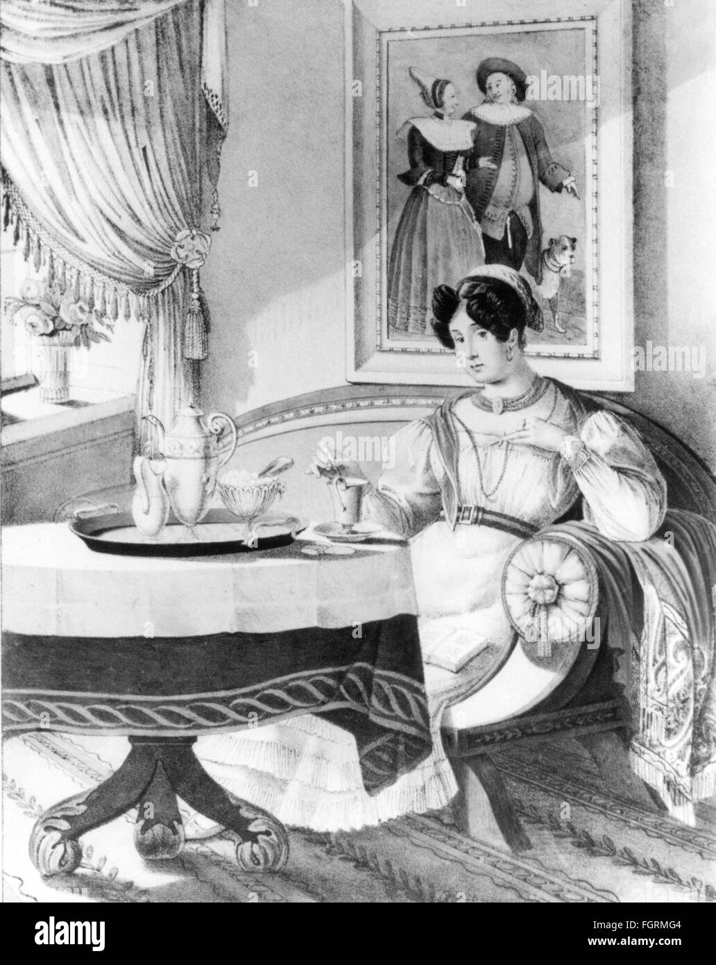 Munich bourgeoise at coffee table, circa 1800 - Stock Image