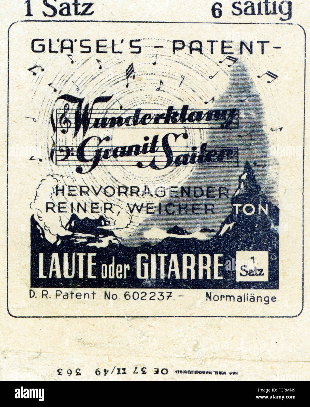 music, instruments, accessories kits, strings for lutes and guitars, Glaesel's Patent Wunderklang Granit Saiten, - Stock Image