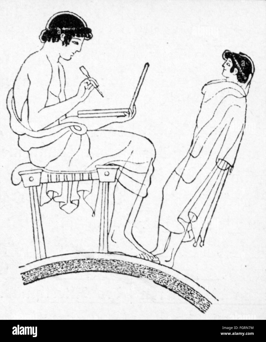 pedagogy, school / lessons / discipline, ancient Greek teacher with schoolboy, wood engraving, 19th century, 19th - Stock Image