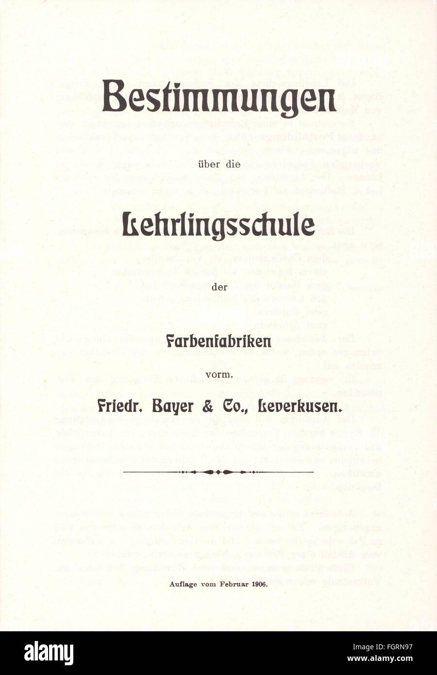 pedagogy, documents / certificates / reports, Regulations for the Apprentice School of the Farbenfabriken vorm. - Stock Image