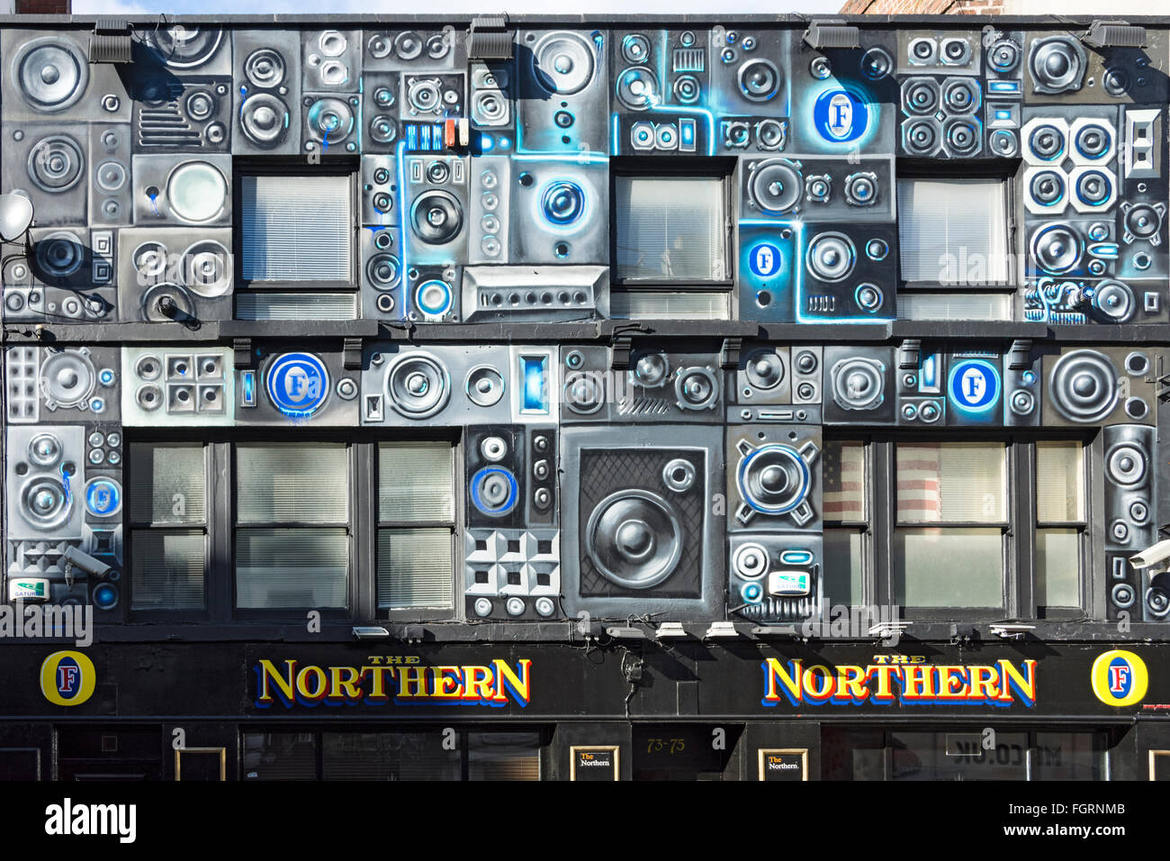The wall mural on The Northern, a pub on Oldham Street, Northern Quarter, Manchester, England, UK - Stock Image