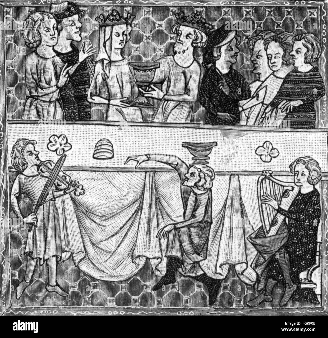 Middle Ages, society, festive table, after miniature, France, 14th century, wood engraving, 19th century, feast, - Stock Image