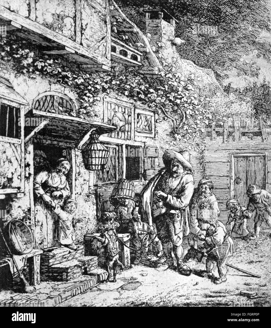 people, misery and hardship, beggars, 'The dancing Dog', copper engraving by Cornelis Dusart, Haarlem, 1685, - Stock Image