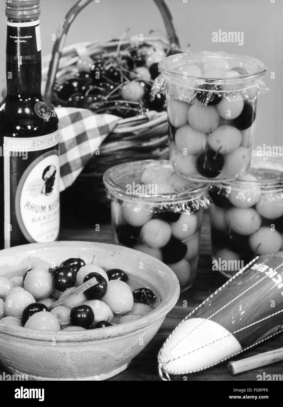 food, fruit, mirabells and cherries potted in rum, 1950s, Additional-Rights-Clearences-NA - Stock Image