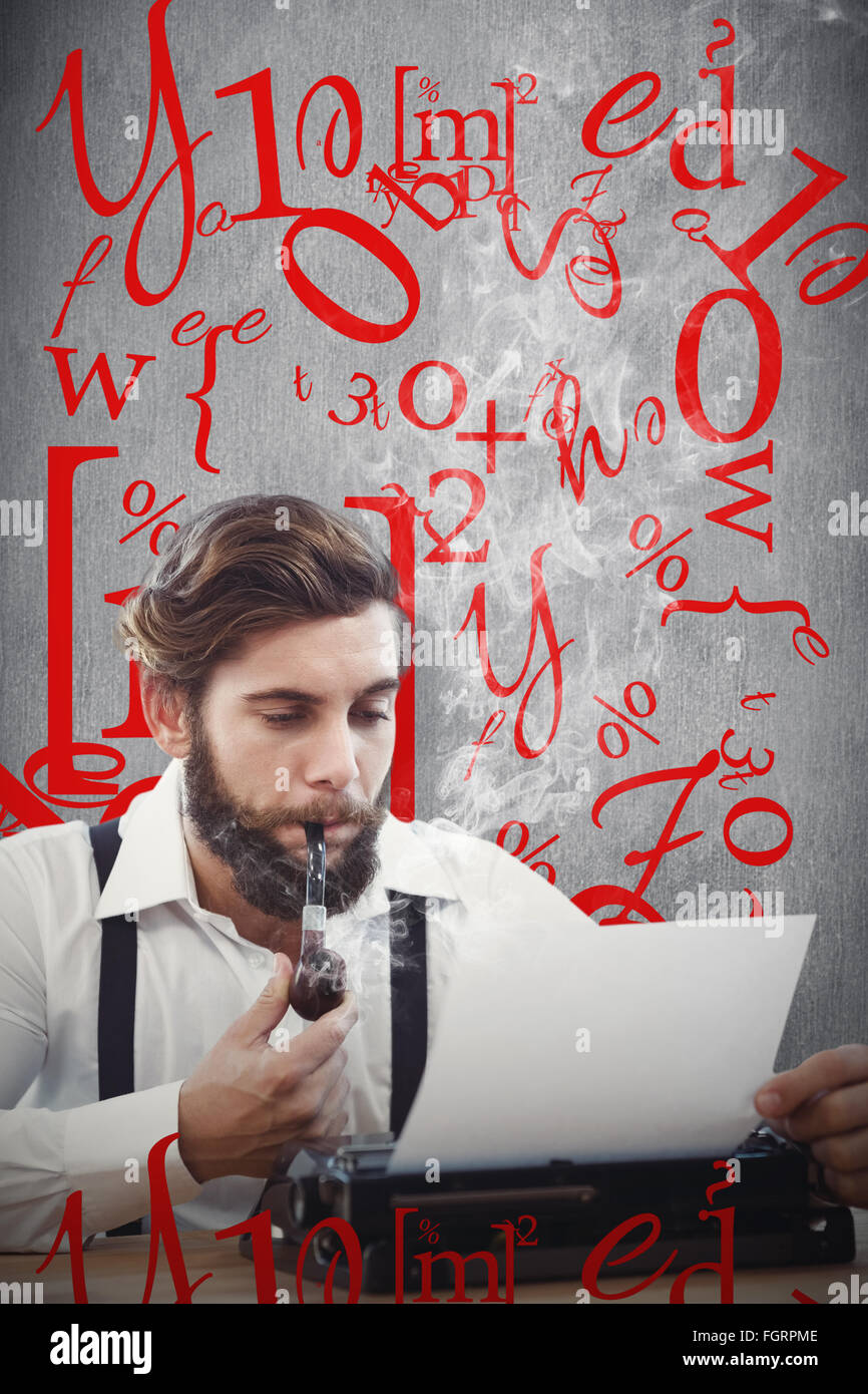 Composite image of hipster with smoking pipe working on typewriter - Stock Image