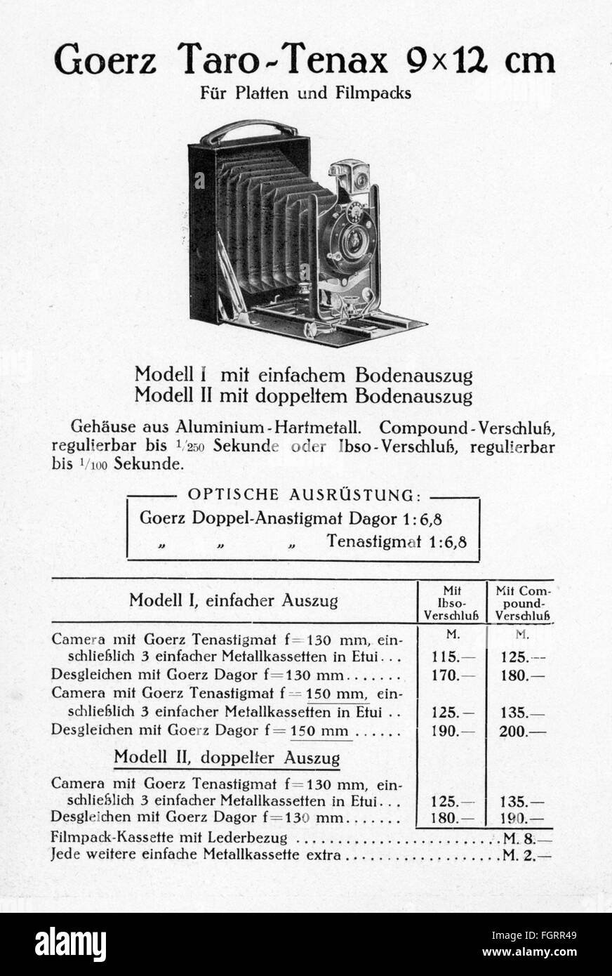 advertising, photography, promotional leaflet for 'Goerz Tenax' cameras, Berlin, core, model 'Taro-Tenax - Stock Image