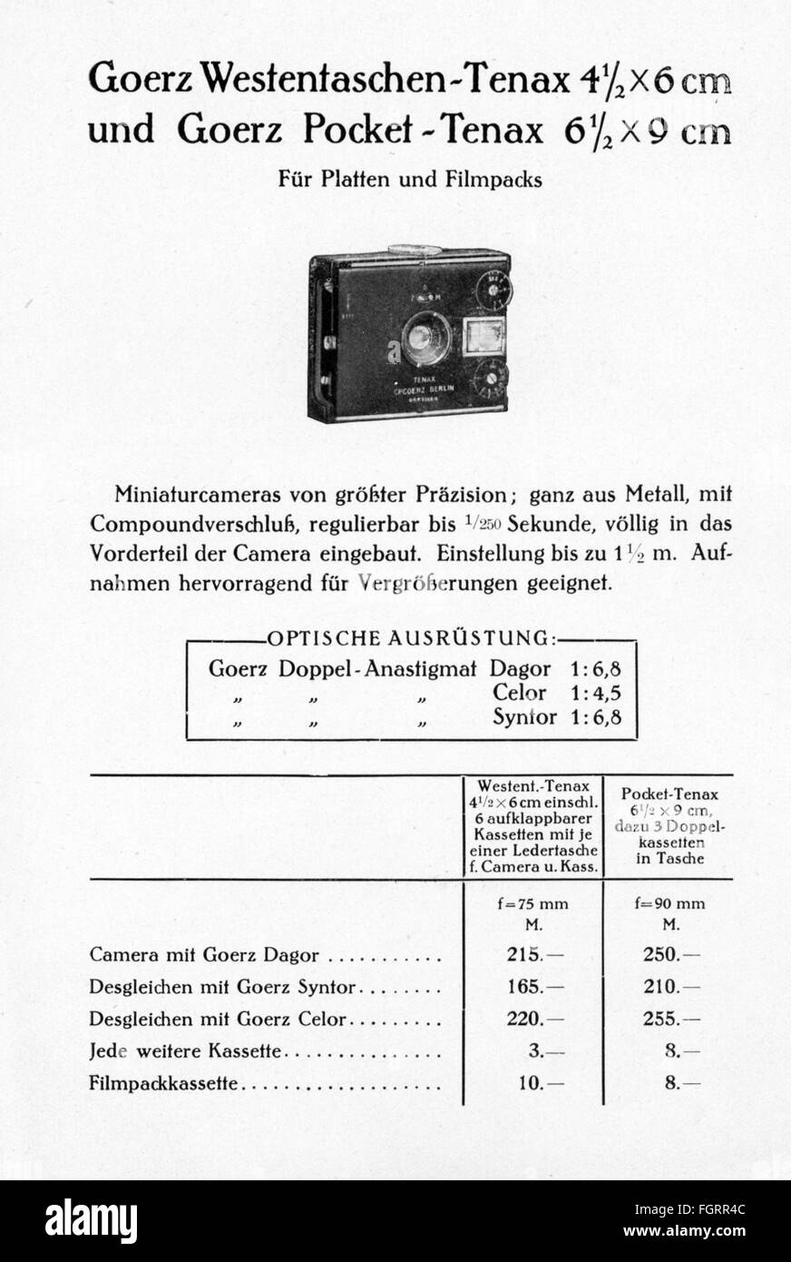advertising, photography, promotional leaflet for 'Goerz Tenax' cameras, Berlin, core, model 'Westentaschen - Stock Image