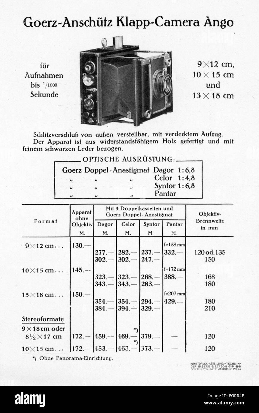 "advertising, photography, promotional leaflet for ""Goerz Tenax"" cameras, Berlin, core, model ""Klapp-Camera Ango"", Stock Photo"