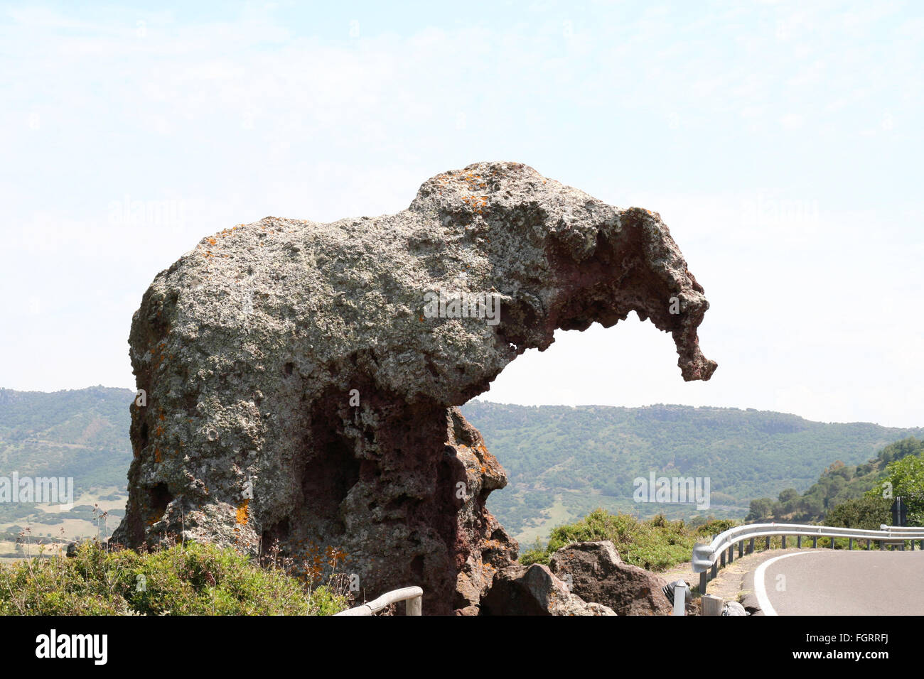 Elephant Rock. An unusual rock formation in Northern Sardinia, Italy, of a rock shaped by wind erosion to look like - Stock Image