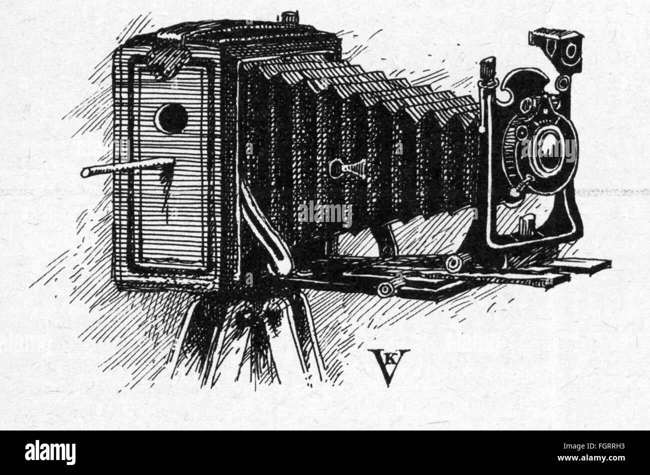 photography, caricature, nesting box in bellow camera, drawing by Klaus Vonderwerth (* 1936), out of: 'Neue - Stock Image